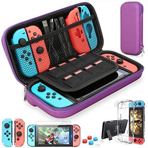 HEYSTOP Funda para Nintendo Switch, Funda de Viaje para Nintendo Switch con Más Espacio de Almacenamiento para 8 Juegos, Funda para Nintendo Switch Console & Accesorios (Amarillo Azul)