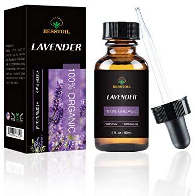 Aceite Esencial de Lavanda Orgánica – 100% Puro, Natural, Sin OGM, Grado Terapéutico para Difusor de Aromaterapia – Cuentagotas de Vidrio Premium (60ml)