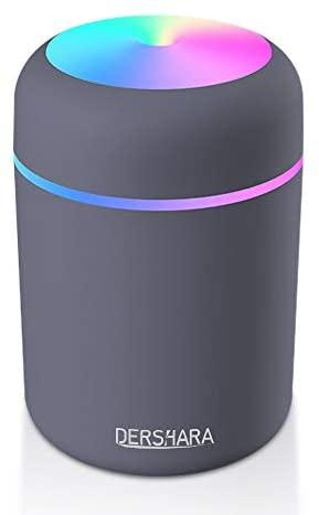 DERSHARA Humidificador Mini – Unidad de humidificación de Primera Calidad con Tanque de Agua de 300ml, Funcionamiento ultrasónico silencioso, Apagado automático y función de luz Nocturna (Blanco)