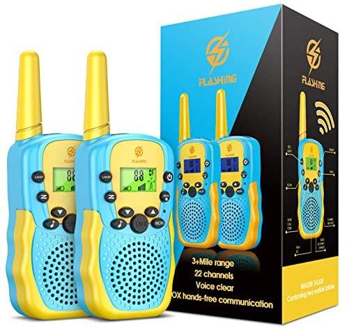 Dreamingbox Walkie Talkie para Niños 8 Canales 3 KM Alcance Juguete con LCD Retroiluminado Linterna Juegos Infantiles