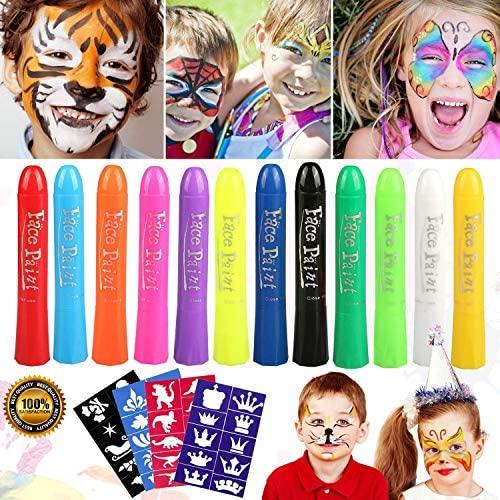halloween Pascua de Resurrección Pintura Facial,Buluri 12 Colores Face Paint Crayons Conjuntos de Pintura Corporal Faciales Seguros y con 40 Plantillas,Perfectos para Carnaval,Santa, Cosplay, Fiestas