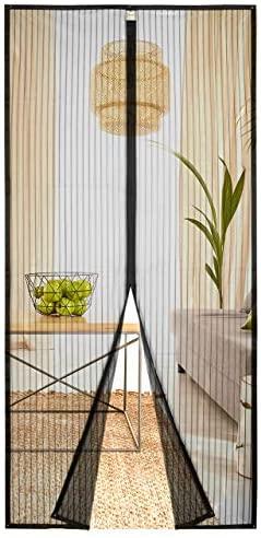 Homitt Mosquitera magn¨¦tica para puerta, Mosquitera Puerta, con cortina de malla resistente con 26 imanes, parte superior reforzada antidesgarro, gancho y bucle de marco completo