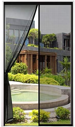 2021 Nueva Mosquitera Puerta Magnetica Corredera, Cortina Mosquiteras Magnética para Puertas Abatible Balcón Puerta Corredera de Patio, Fácil instalación, Negro, 110×220 cm