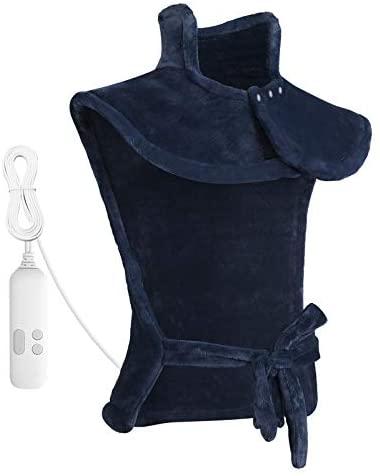 60 x 85cm Almohadilla Térmica Eléctrica para la Espalda, Hombros y Cuello Calentado con Tecnología de Calentamiento Rápido con 5 Niveles de Temperatura – Apagado Automático – Azul oscuro