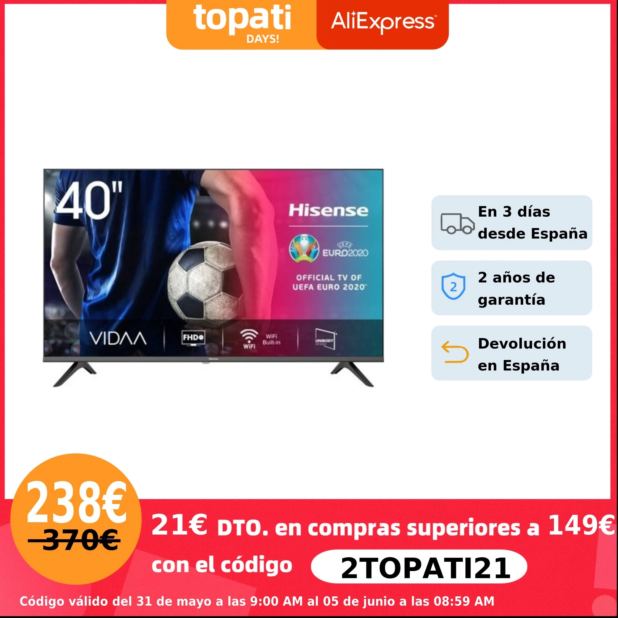 HISENSE 40A5600F TV Smart TV 40 pulgadas