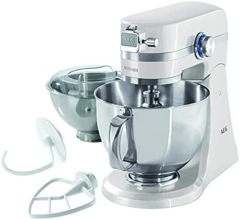 AEG KM4100 Amasador – Robot de Cocina con Bol Batidora, Apta para Lavavajillas, Dos Boles ,10 Velocidades, Iluminación LED, Múltiples Varillas, 1000 W, 2.9L y 4.8L,Blanco