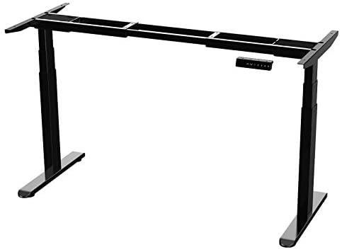 AIMEZO Escritorio Ajustable en Altura Marco de Escritorio Eléctrico de pie con Pierna de Elevación de Tres Etapas Marco Doble del Escritorio del Motor con 4 Controlador de Memoria Digital (Negro)