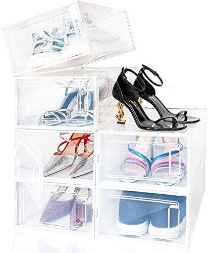 amzdeal Cajas de Zapatos Plásticas 6 Pcs – Organizador de Zapatos Transparente, Apilable y Impermeable, Caja de Almacenamiento Plegable, Ahorra Espacio, Zapateros para Hombres y Mujeres 33×23×14cm