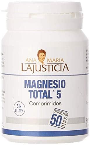 Ana Maria Lajusticia – Magnesio total 5 – 100 comp. Disminuye el cansancio y la fatiga, mejora el funcionamiento del sistema nervioso. Apto para veganos. Envase para 50 días de tratamiento.