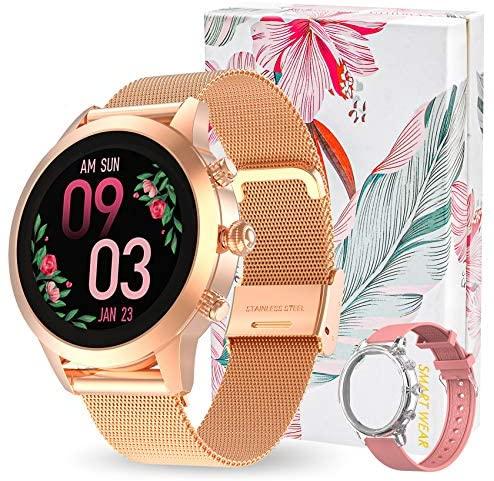 Aney Well Smartwatch Mujer, Reloj Inteligente IP68 impermeable, Monitor de Sueño y Caloría Pulsómetro, Notificaciones Inteligentes, Reloj Deportivo Mujer para Android iOS