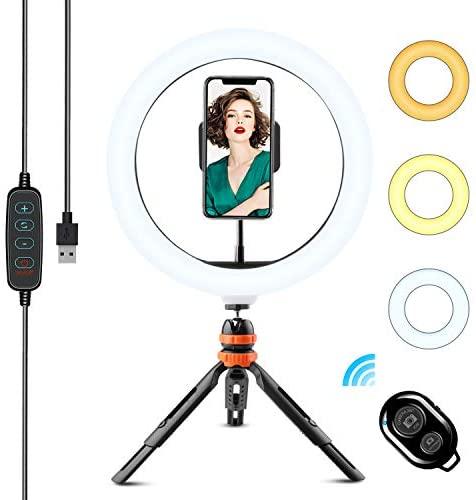 Anillo de Luz LED, WOWGO 10´´ Aro de Luz con Trípode, 3 Colores 11 Brillos Regulables Bluetooth Control Remoto, Soporte Giratorio de teléfono para Selfie, Maquillaje, Youtube, TIK Tok Live