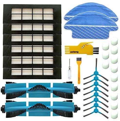 aotengou Accesorios para Cecotec Conga 3090 Robot Aspirador Repuestos Paquete de 2 cepillos Principales, 6 filtros Hepa, 8 cepillos Laterales, 2 Trapos de Limpieza, 1 Herramientas de Limpieza