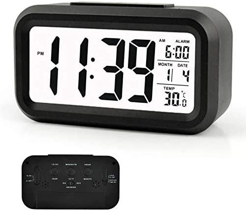 Arespark Despertador Digital, Reloj Alarma Electrónico con Luz de Noche, Pantalla LCD de 5.3 Pulgadas con Hora Fecha Temperatura, Función Snooze, Negro (Plástico)