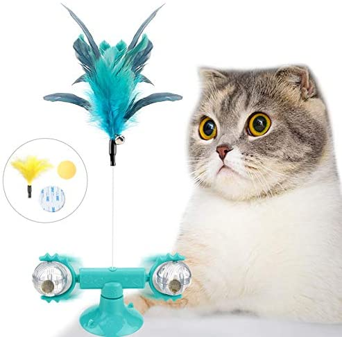 AUCHIKU Juguete para Gatos rotación de 360°,Juguete Gato Pelota interactiva,Rueda para Gatos,Juguete Interactivo para Gatos con Pluma Juguete de Plumas para Gatos