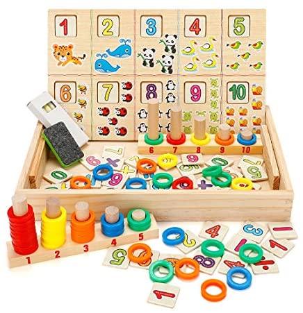Babyhelen Juegos de Caja de Accesorios Matemático de Madera Aprendizaje para Niños 3-6 Años