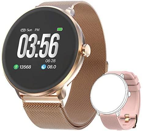 Bebinca Smartwatch Reloj Inteligente con Cronómetro, Pulsera Actividad para Deporte,Reloj de Fitness con Podómetro Hombre Mujer Niños para Samsung Huawei iPhone + 1 Correa de Metal(Rosa)