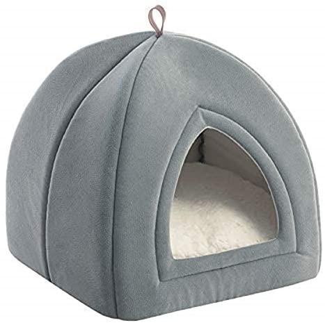Bedsure Cama Gato Cueva Suave – Casa Gato Lavable con Cojín Desenfundable y Extraíble, Camas para Perros Pequeños 35x35x38cm, Gris Claro