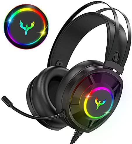 Blade Hawks Auriculares Gaming, Auriculares para Juegos con Sonido Envolvente 7.1, Efecto RGB,Orejeras Permeables al Aire, Micrófono con Cancelación de Ruido para PS4 Xbox PC Laptop Mac Smart Phone
