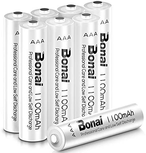 BONAI Pilas Recargables 1100mAh AAA Ni MH 1200 Ciclos, Pilas AAA Recargable Precargadas Baja autodescarga HR03/LR03 Pilas Recargable(8 Piezas)