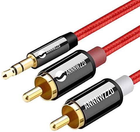 Cable Audio RCA,Jack 3,5mm Macho a 2RCA Macho Nylon Trenzado Estéreo Cable,para el Smartphone, Sistema HiFi,iPod, Smart TV, Reproductor MP3, Tablet, PC al Amplificador, Sistema Estéreo y etc (2M)