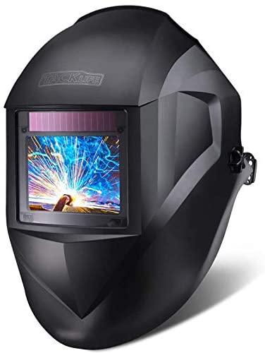Casco de soldadura, Tacklife-PAH03D-Caretas para soldar 100*73 mm gran ventana, casco solar de 1/1/1/1 de Oscurecimiento Automaticamente 4 sensores 4-8/9-13 de color completo con 6 lentes