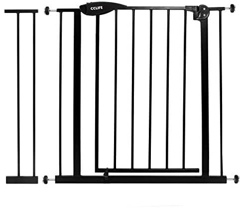 CCLIFE Puerta de Seguridad barrera seguridad niños barrera infantil valla seguridad infantil escalera, Color:Negro con Extension 89-99cm