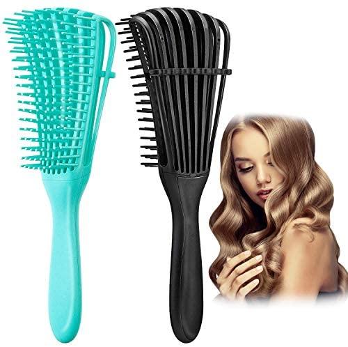 Cepillo desenredante, Cepillo desenredante para cabello afro, Peine para desenredar para cabello afro 3a 4c, Azul,Negro