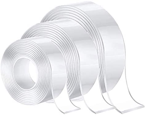 Cinta adhesiva nano de 3 piezas, cinta adhesiva nano de doble cara, cinta adhesiva mágica multiusos resistente, cinta nano premium extremadamente resistente (grande 3 cm, mediana 2 cm, pequeña 1 cm)