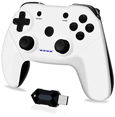 Clevo Mando para PC, Mando PC Gaming 2.4G Bluetooth Mando Inalámbrico Vibración Dual Compatible para PC/PS3/Android/TV Box (Blanco)