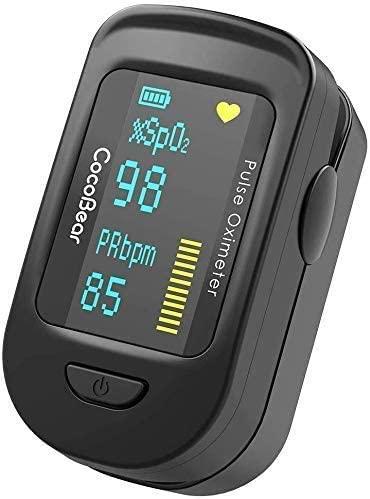 CocoBear – Oxímetro de Pulso con Monitor de Saturación de Oxígeno Sanguíneo con Bolsa de Transporte, Baterías y Cordón