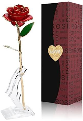 Cozime Rosa de Oro 24K con Base Soporte, Fresco Rosas Vivas con Caja de Regalo para Madre, Novia, Esposa, el Día de San Valentín, Navidad, Fiestas Doradas – Rojo (Rojo) (Rojo)