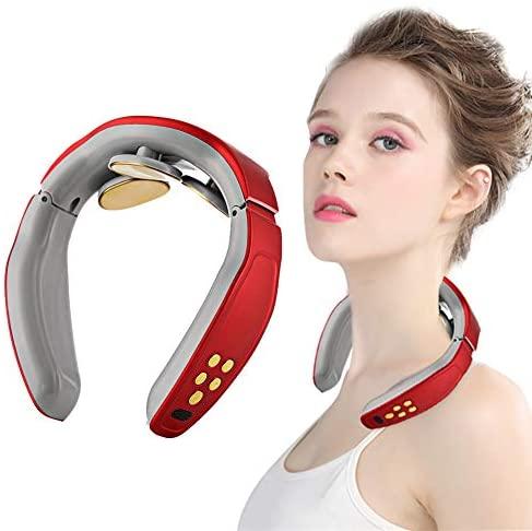 Cuello Masajeador, Shiatsu Masajeador Cervical, Masajeador de Cuello Multifunción,Masajeador de cuello 3D inalámbrico inalámbrico inteligente,Aliviar Rápidamente el Dolor Cervical (Rojo)