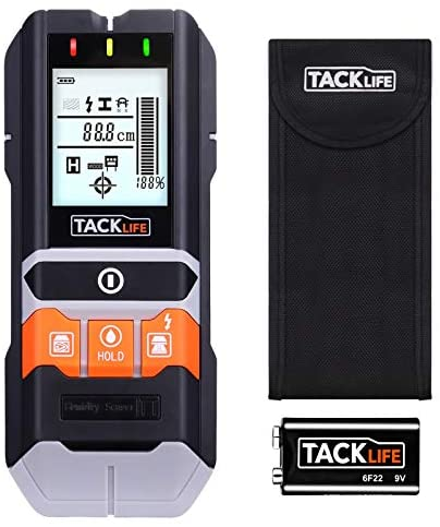 Detector de Pared, TACKLIFE-DMS05-Detectores de Metal, Madera y AC Cable, Probador de Humedad, Escáner de Pared Clásico y Multifuncional, Retroiluminación LCD, Batería Incluida, Bolsa