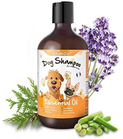 Dhohoo Champú para Perros para Alergias y Picazón con Aceite Esencial, Ingredientes Naturales Champú para Perros con Olor, Alivio de la Piel Seca con Picazón, Crecimiento del Pelo Sano(473ml)