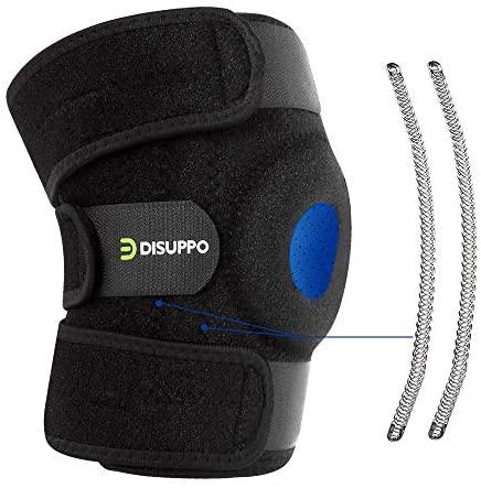 DISUPPO Soporte de rodillera, estabilizador de hueso abierto ajustable, para traumatismos deportivos, esguinces, artritis, recuperación de compresión de lesiones de ligamentos (Taglia unica)