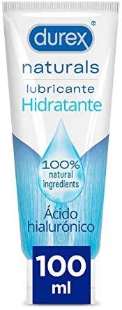 Durex Naturals Hidratante Lubricante Base Agua, Ácido Hialurónico,% Natural Sin Fragancia, Colorantes ni Agentes Irritantes, Transparente, 100 Mililitros