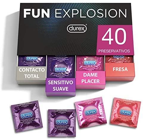 Durex Preservativos Mixtos Fun Explosion Sabor Fresa, Dame Placer, Sensitivo Suave y Contacto Total, 40 Condones, 52 y 56 mm
