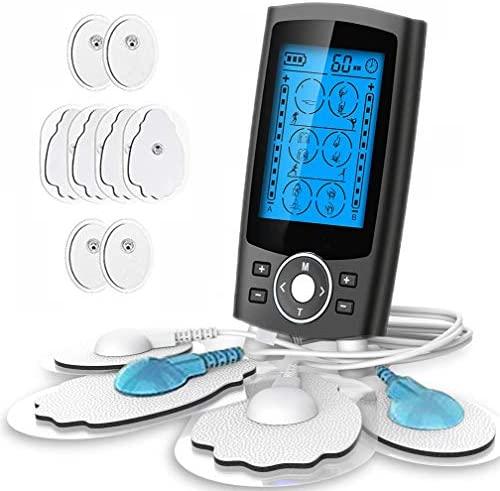 Electroestimulador TENS y electroestimulación muscular, 24 Modos 2 Canales USB Recargable Masajeador Electro para el Cervical/Piernas/Abdominal/Espalda/Cuello