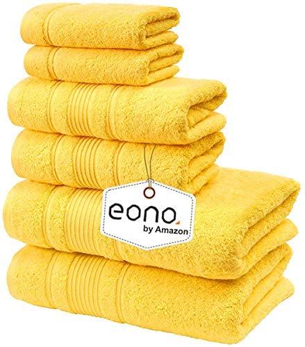 Eono by Amazon, Toallas de SPA y Hotel Juego de Toallas de 6 Piezas, 2 Toallas de baño, 2 Toallas de Mano y 2 toallitas(Taza de Mantequilla Amarilla)