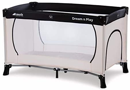 Hauck 603673 Cuna de Viaje Dream N Play Plus / para Bebes y Niños de Nacimiento hasta 15 kg / 60 x 120 cm / Entrada Lateral / Plegable / Compacta / Bolsa de Transporte / Beige