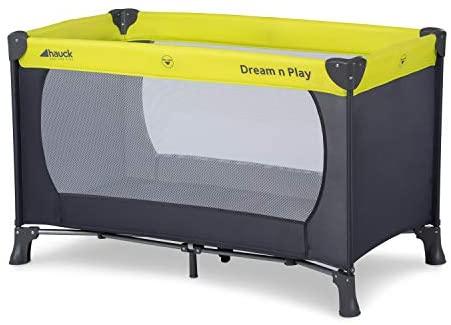 Hauck Cuna de Viaje Dream N Play, para Bebes y Niños de Nacimiento hasta 15 kg, 120 x 60 cm, Plegable, Compacta, Ligera, Incluido Bolsa de Transporte, Verde Gris