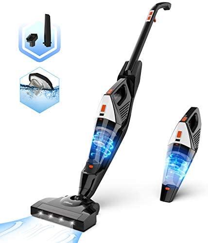 Hikeren Aspiradora Escoba 16 Kpa Aspiradora Hogar Escoba Sin Cable Aspiradora de Mano con Batería de 2500mAh 2 Velocidades de Aspiradoras Verticales, 4 Luces LED & Filtro Lavable, 2 Cepillos