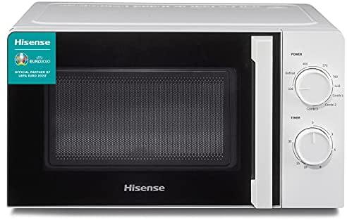 Hisense H20MOWS1H – Microondas, Capacidad de 20 L, 700 W de Potencia, 6 Niveles, Temporizador 30 Min, Modo Descongelar, Tirador, Acabado Blanco