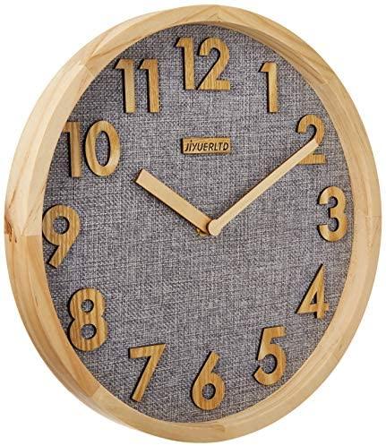 JIYUERLTD 12 Pulgadas Relojes de Pared 12 Pulgadas Silencioso sin tictac Reloj de Pared de Cuarzo, Reloj de Cocina Reloj de Madera para Casa Oficina Salón de Clases Colegio.