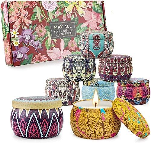 Juego de velas perfumadas Regalos para mujeres Velas de aromaterapia 8 paquetes 35.2oz 280 Horas Vela portátil de viaje de cera de soja.
