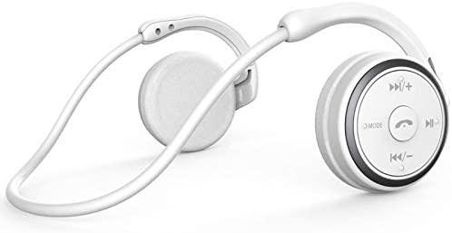 KAMTRON Auriculares inalámbricos Bluetooth Deportivos- Marathon2 Auriculares Inalámbricos con Tecnología de Captura de Voz Clara, Micrófono de Cancelación de Eco, para Gimnasio, Deportivos (Blanco)