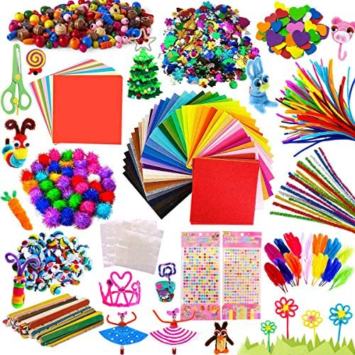 Kit Manualidades niños, Pipe Cleaners Crafts Set, Juego de Manualidades, Limpiadores de Pipa Chenilla y Pompoms con Wiggle Eyes y Craft Sticks, Juego Creativo Regalo para Craft DIY Art Supplies