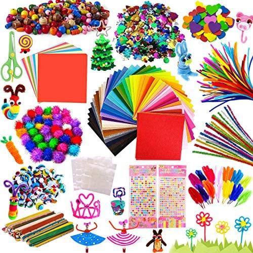 Kit Manualidades niños, Pipe Cleaners Crafts Set, Juego de Manualidades, Limpiadores de Pipa Chenilla y Pompoms con Wiggle Eyes y Craft Sticks, Juego Creativo Regalo para Craft DIY Art Supplies
