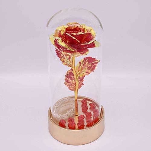 Kit de Rosas de La Bella y la Bestia, Rosa roja y luz LED en cúpula de Cristal sobre Base Dorada para decoración del hogar, cumpleaños, Bodas, día de San Valentín