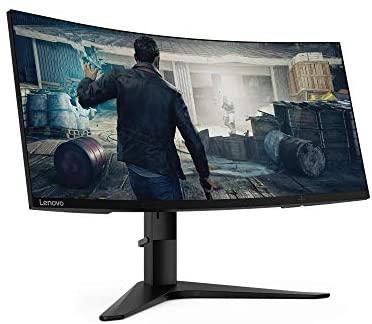 """Lenovo G34w-10 – Monitor Gaming curvo de 34.0"""" WQHD (3440×1440, 21:9, HDMI+DP, FreeSync, 144Hz, 1 ms, 3 lados sin bordes, inclinación y altura ajustable, antirreflejo) – Color Negro"""